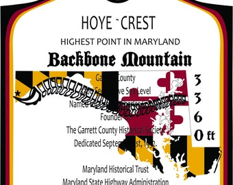 Backbone Mountain, Maryland - High Point Sticker