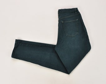 Dark Green Jeans, High Waisted Jeans, Vintage 90s GAP Jeans, Relaxed Fit Tapered Leg Jeans, 90s Mom Jeans, 90s Green Pants Size 12 Long
