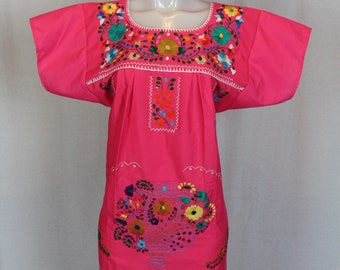 Mexican Embroidered Tunic-Embroidered by Hand-Pink (Small) BOHO Hippie-Handmade-Beautiful-Valentines Day Gift-Fiesta Mexicana-Birthday-Art