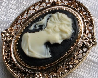 Estate Jewelry Cameo Vintage Brooch Pin Japan Signed Designer Black Cream Antique Victorian Downton Abbey High Relief Romantic Ornate Modern