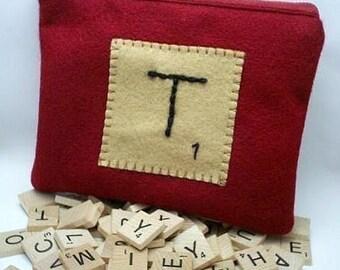Custom Scrabble Tile Bag - Personalized - Monogram - Scrabble Game - Scrabble Lover Gift