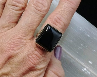 Black Onyx Ring - Size 7.5