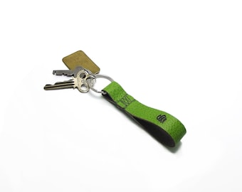Personalized Lime Green Monogrammed Leather Key Fob, KeyChain, bright green, neon