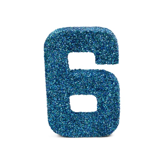 """8"""" Glitter Number 6, Paper Mache Number 6, Giant Blue Number, Centerpiece Number Six, Table Letters, Large Decorative Blue Number Birthday"""