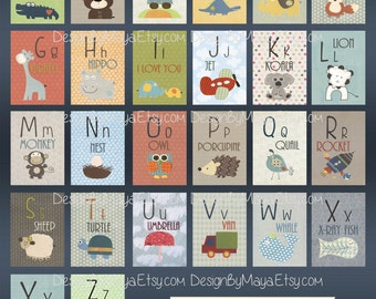 Alphabet Cards A to Z Animal Alphabet Card Set Nursery Wall Cards Animal Alphabet Flash Cards Alphabet Fine Art Prints, ABC Cards to hang
