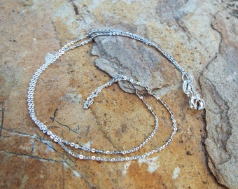 Silver Chain Sterling Silver 925 40cm Women's Handmade Silver Necklace Curb Chain Jewelry