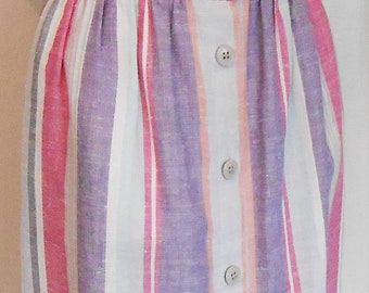 Vintage, Skirt, Stripe, 1960s, Retro, Button Front, Cotton, Schoolgirl, Small, Size 5-6, 60s Skirt, Mod Skirt, Vintage Skirt, Striped Skirt
