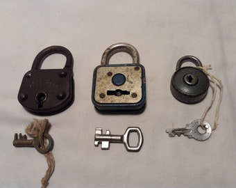 Three Vintage Metal Padlocks with Keys