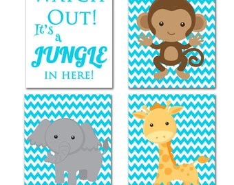 Giraffe Monkey Elephant Wall Art Watch Out it is a Jungle In Here Sky Blue Zoo Animal Nursery Room Jungle Animals Prints Art for Kids Room