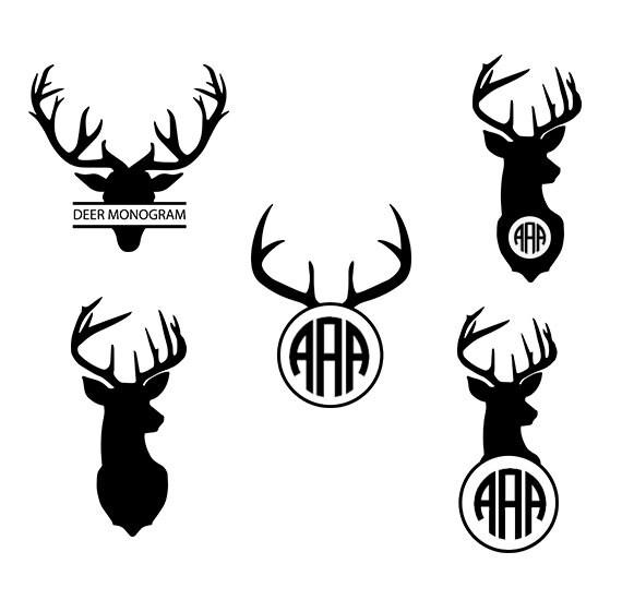 Deer Svg Deer Monogram Clipart Deer Head on Chevron Circle Clip Art Free