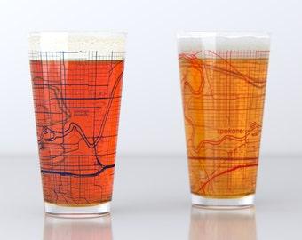 Spokane, WA - Gonzaga - College Town Pint Map Glasses