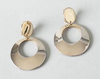 Vintage 1960s Style Earrings   Silver Tone Metal Hoop Clip On Earrings