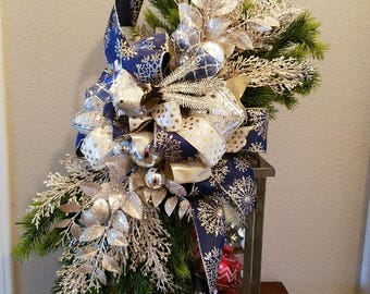 Christmas Lantern Swag, Blue Silver Champagne Swag, Mantel or Table Christmas Decoration, Christmas Holiday Decor