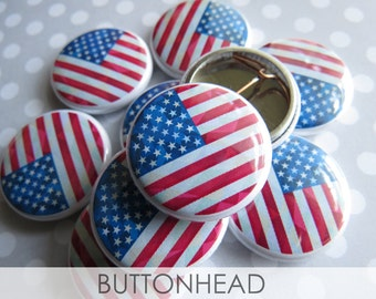 10 American Flag Pins - Memorial Day Flag Pins - Bulk Wholesale Pinback Buttons