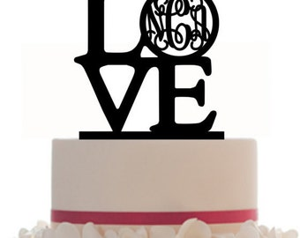 Custom Wedding Cake Topper LOVE With Personalized Bride and Groom Initials Monogram, choice of color