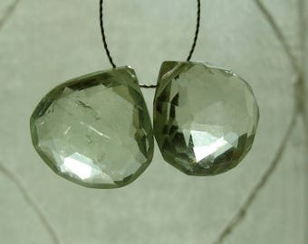 Pair of Matched Prasiolite Faceted Heart Shape Briolettes Top Drill 12mm x 12mm x 7mm