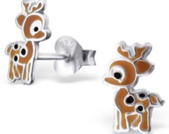 Sterling Silver Cute Deer Stud  Earrings