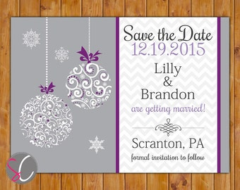 Christmas Wedding Save the Date Chevron Ornate Christmas Ornament Birthday Invitation Purple Grey DIY Printable 5x7 Digital JPG (496)