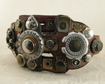493 Steampunk Burning Man Assemblage Palimpsest Bracelet Recycled Jewelry Industrial Machine Age
