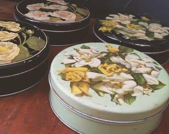 Vintage Floral Round Tins, Set of 4