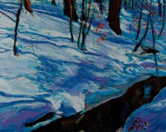 Original Pastel Painting, Stream in Winter, Berkshire Landscape, Snowy Brook by Robert Lafond