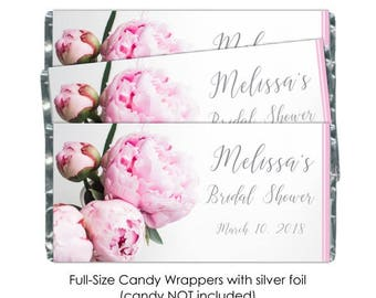 Peony Bridal Shower Candy Wrappers, Peonies Wedding Candy Wrappers - fit over 1.55 oz chocolate bars, 50 count