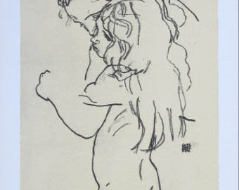 "Schiele Egon, 61, Lithograph, ""Mother and child  printed 1968"