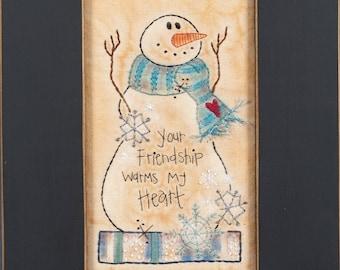 Stitchery Pattern - Winter Snowman, Digital Download