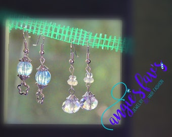 Light Blue or Clear Bead Dangle Earrings