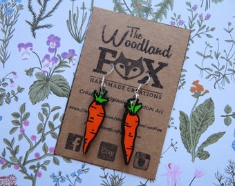 """""""Carrots"""" 925 sterling silver and wood - cut and hand painted earrings"""