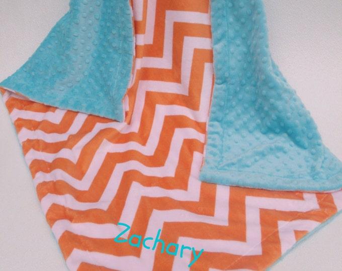 Aqua and Orange Chevron Minky Baby Blanket