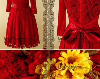 More Colours. Knee Length Red Lace Wedding Dress, Short ...