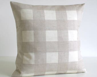 Cottage Chic, Buffalo Check Pillow Cover, Gingham Cushion Cover, Shabby Chic Pillow Sham, Throw Pillow Cover, Pillowcase - Gingham Oatmeal