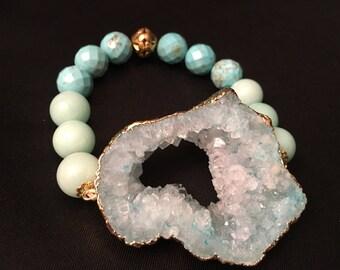 Natural DRUZY agate amazonite howlite gemstone fashion bracelet