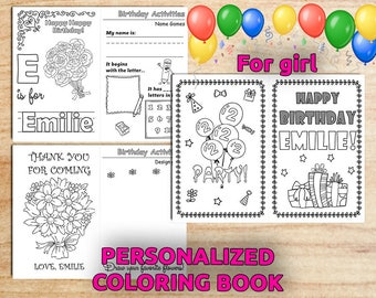 Personalized Birthday Party Activity Coloring BOOK / For girl / Printable / PDF