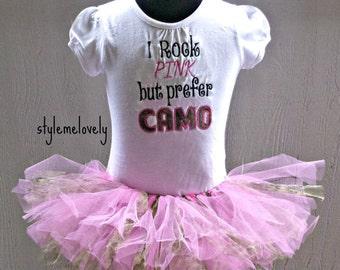I Rock Pink but Prefer Camo Pink and Camo Tutu Baby Girl Set