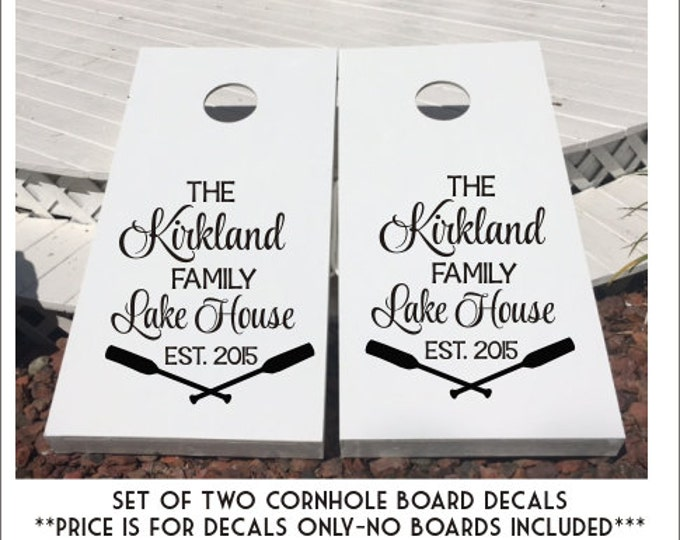 Personalized Lake House Decals Set of Custom Cornhole Decals Lake House Cornhole Family Lake House Est Year Set of Two DIY Vinyl Decals