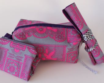 Pink and Grey Dove Print Box Pouch