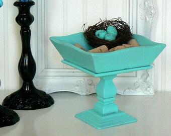 Vintage Bold  Turned Wood  Pedestal Bowl in  Tiffany Blue