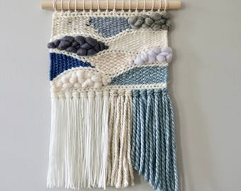 Woven Wall Hanging / Weaving / Tapestry / Wall Art / Nursery Decor / Home Decor / Blue, Grey, White, Neutral
