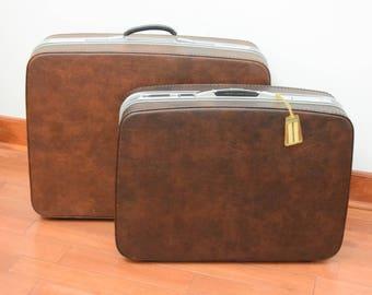 Set of Vintage Samsonite Leather Luggage