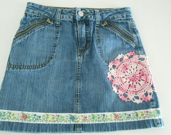 up cycled denim jean skirt  doilies for girls size 8