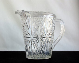 Vintage  Pitcher ~ 1960s ~ Clear Acrylic ~ Cut Work Design ~ Water Pitcher ~ Home Decor