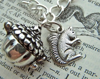 Silver Squirrel Charm Bracelet & Acorn Locket Rustic Antiqued Silver Plated Steampunk Style Assemblage Jewelry