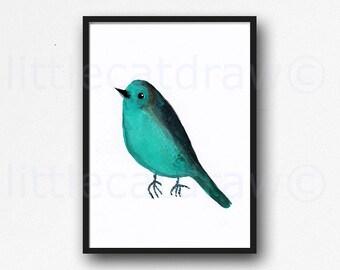 Bird Print Teal Bird Print Watercolor Painting Art Print Illustration Art Drawing Watercolor Print Living Room Decor