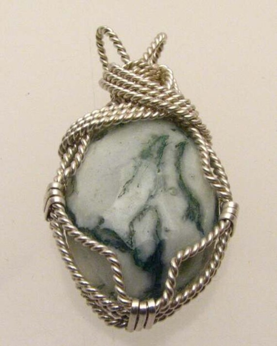 Handmade Solid Sterling Silver Wire Wrap Tree Agate Pendant