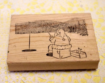 Wood Mounted Rubber Stamp Ice Fishing Santa by Siver Crow Creations