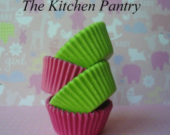 Mini  Cupcake Liners -  Baking Cups  -  Cake Pops -  Candy Cups - Pink and Green 70