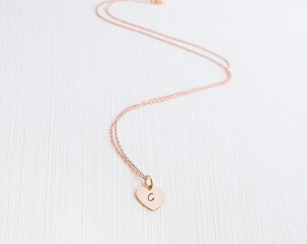 Heart Initial Necklace, Rose Gold, Initial Necklace , Heart Necklace, Personalised Jewellery, Rose Gold Plated Necklace