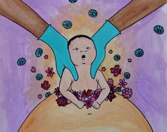 "EMERGE/ 8"" x 8"" original art print/ cesarean birth/ csection/ new mama/ healing art"